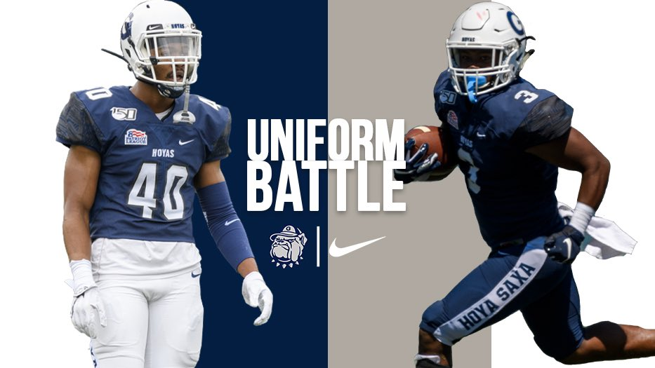 It's time for the finals of our #UniformBattle! Head to Twitter, Facebook or our Instagram Story to vote on your favorite combo! #HoyaSaxa #DefendtheDistrict