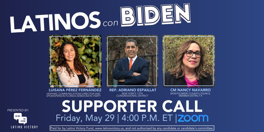 [STARTING SOON] This weeks #LatinosConBiden supporter call featuring @EspaillatNY, @nancy_navarro, & @luisanaperezf at 4:00 P.M. ET! Dont worry, theres still time to register. Click this link to tune in → bit.ly/LCB_May29