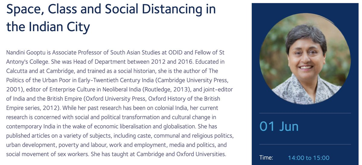 Prof Nandini Gooptu will be continuing the Oxford Development Talks next week by discussing Space, Class & Social Distancing in the Indian City. This series will showcase the best of Oxford development research for a wide audience 👉https://t.co/V7cNw7LheH @ODID_QEH @Oxford_OxSID https://t.co/gRnnKUTiqv