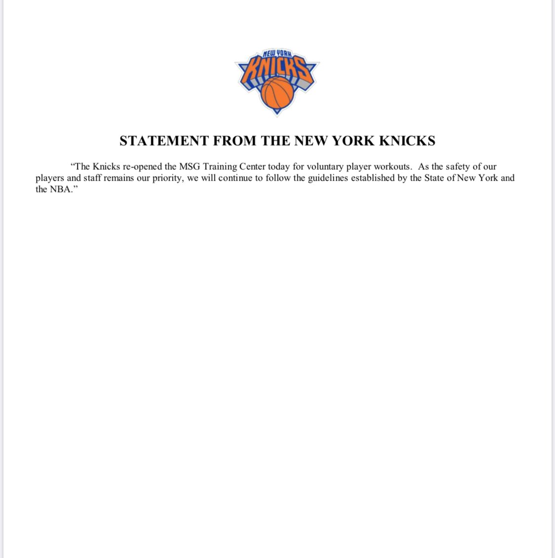 STATEMENT FROM THE NEW YORK KNICKS https://t.co/K3IeGjndiP