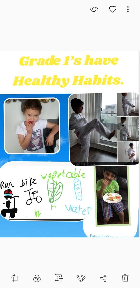 Love the healthy habits grade 1s. Keep active...eat healthy snacks...drink lots of water. #spiritday @EllengalePS