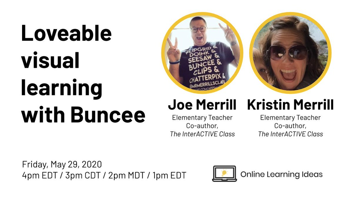 Looking to learn more about @Buncee? Look no further than @themerrillsedu! They have tons of advice and ideas to share. Join them, me, and @HollyClarkEdu in a LIVE video at the top of the hour! Join (or watch replay): youtube.com/watch?v=7laESr… #DitchBook #remotelearning