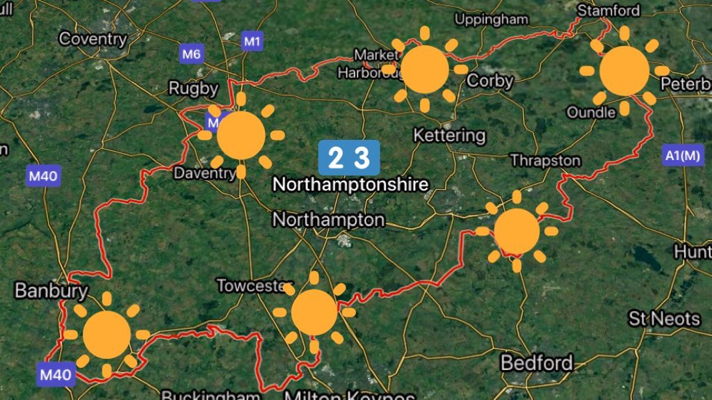 Good evening ☀️ #Northamptonshire. Dry tonight with clear skies. Rural lows of 7°C. Blue skies and sunshine from dawn till dusk tomorrow with a easterly breeze. Feeling warm in the sunshine at 23°C. You can expect more of the same on Sunday.