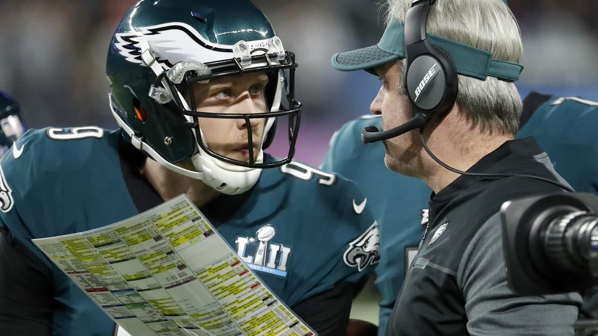 "Nick Foles said the #Eagles almost wasted the Philly Special in the NFC Championship blowout. 😳 Doug Pederson wanted to run the play while up 31-7 against the #Vikings, and Foles said ""Eh, we don't really need it. We're up by so much. Lets not waste it."" Good call, Nick."