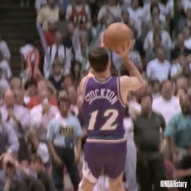On this day in 1997, John Stockton buried the series-clinching three against Houston to send the @utahjazz to the NBA Finals! #NBAVault   We're streaming UTA/HOU WCF Game 6 tonight on @NBA at 8pm/et. #NBATogetherLive https://t.co/pUZRvsWQI4