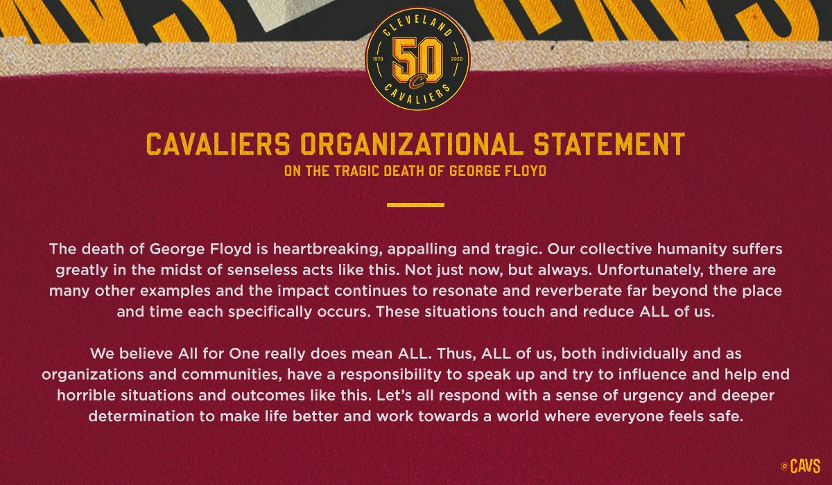RT @cavs:  *** Cavaliers Organizational Statement: https://t.co/OwKIMhmYp9 #Cleveland #CAVS #AllForOne  #LeBronJames #StriveForGreatness #NBA #NBAAllStar #TeamLeBron https://t.co/6860RX6f9n