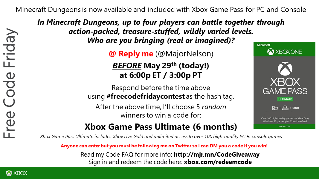 #freecodefridaycontest time. Read this and you could win a code for Xbox Game Pass Ultimate - (6 months). Play over 100 games on @XboxGamePass and @XboxGamePassPC including the recently released - @dungeonsgame. Good luck!
