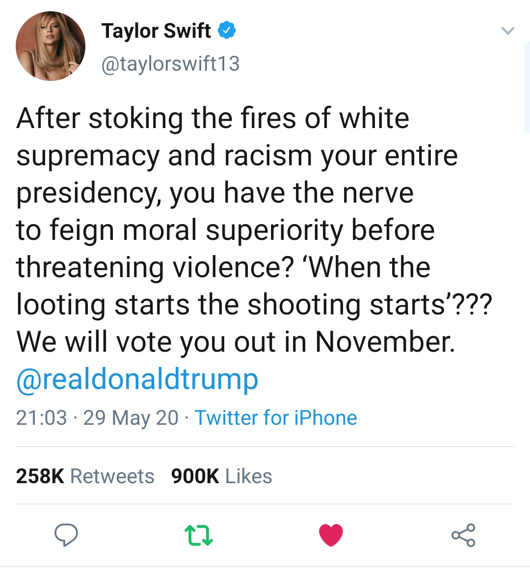 Taylor Swift India On Twitter Taylor Swift S Recent Tweet On Donald Trump Has Surpassed More Than 900k Likes In Less Than 5 Hours Blacklivesmatter Https T Co 1zdftykcj0 Taylor swift's twitter and instagram accounts hacked. taylor swift india on twitter taylor