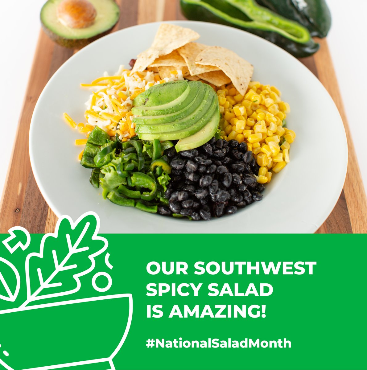 Make it spicy🌶 Our Southwest Spicy Salad features fresh spring mix & baby arugula, black beans, roasted poblano peppers, avocado, corn, corn tortilla chips, artisan blend cheese, and our very own secret Southwest vinaigrette. #NationalSaladMonth https://t.co/MOSbIZ6isf