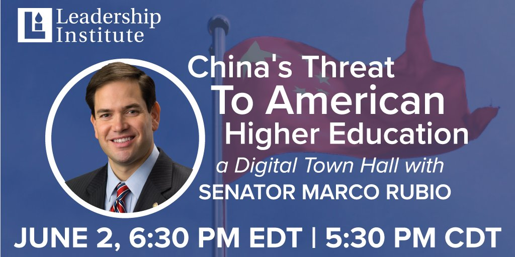Join @marcorubio next Tuesday, June 2 at 6:30 PM EDT as he answers questions about China's influence on college campuses across the United States and what today's college students can do to counter this threat.  #Learnfromhome  #CampusAction   Register http://ow.ly/Qorr50zTPpTpic.twitter.com/I9PfkCHCFY