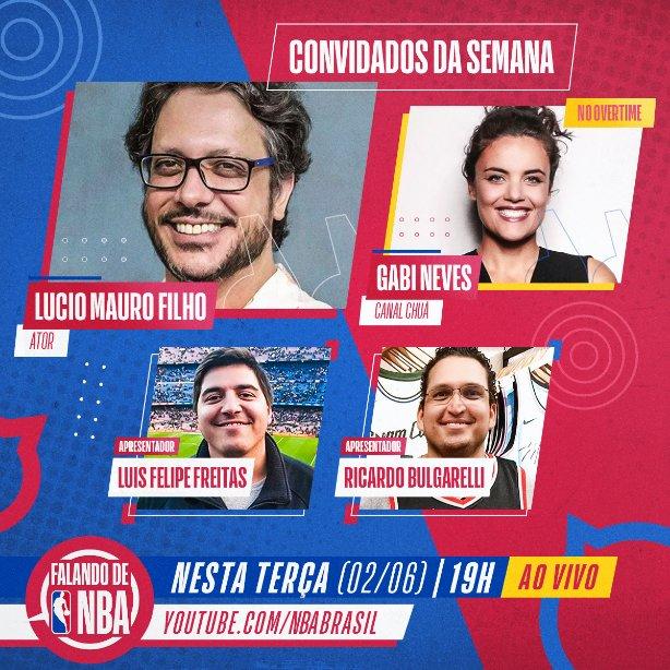 Nesta terça (02/06), às 19h, o #FalandoDeNBA recebe o ator Lucio Mauro Filho! Para completar nosso bate-papo AO VIVO, @gabnegi, do @canalchua, participa do Overtime! Inscreva-se no canal e não perca o Talk Show conduzido por @LFFreitas e @Bulgarelli1971: https://t.co/PMQAQDS88p https://t.co/HoEoebKbeM