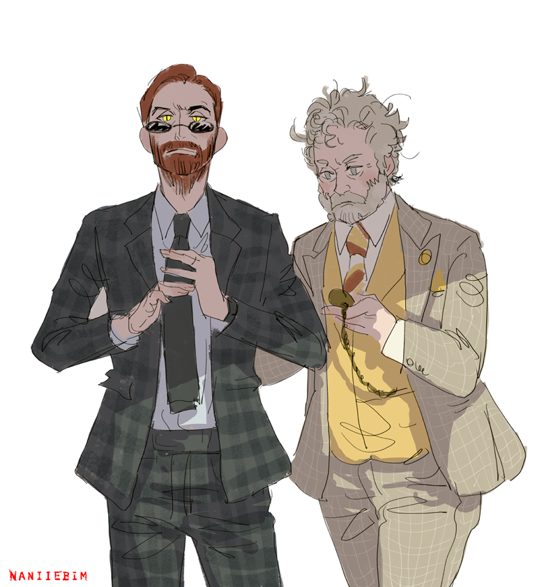 Basically came across this: 66.media.tumblr.com/0fb3fdc0ea2a51… and decided to draw that vers of Aziraphale and Crowley... THEN REALIZED IT'S MR CORTESE AND MR HARRISON. #goodomensfanart