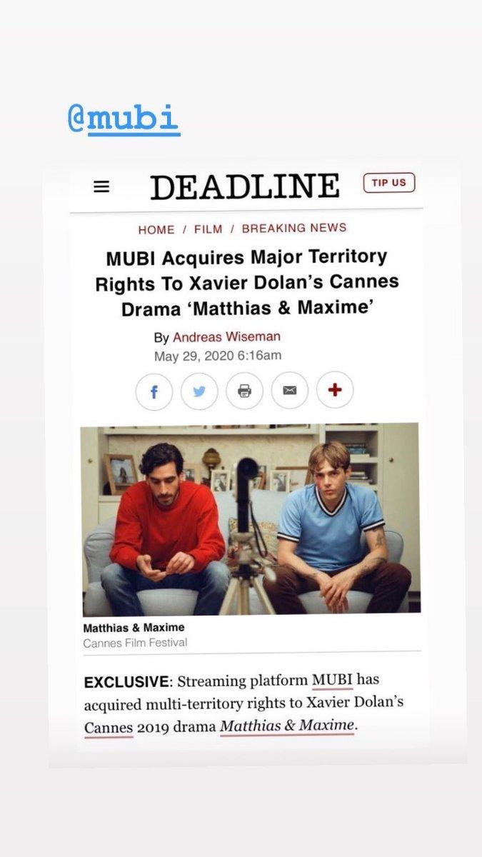 "Repost #NancyGrant IG ❣️ with #XavierDolan ❣️ #Deadline #GabrielDAlmeidaFreitas #PierLucFunk #AntoinePilon #AdibAlkhalidey #SamGauthier  #MatthiasEtMaxime   ""#MUBI Acquires Major Territories Rights to Xavier Dolan's #Cannes Drama"" Matthias & Maxime""  🔥💙 HERE WE GOOOOOOO ❤️🔥 https://t.co/J7fDkR6Prc"