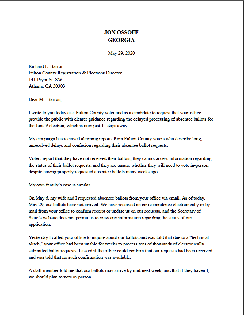 Here's my letter to Fulton County elections chief Richard Barron demanding clear guidance for the many voters still awaiting absentee ballots who have received no information regarding the county's failure to process their requests.