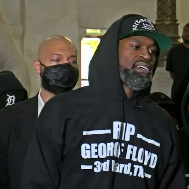 Former NBA player Stephen Jackson delivers a powerful message to honor his longtime friend George Floyd.