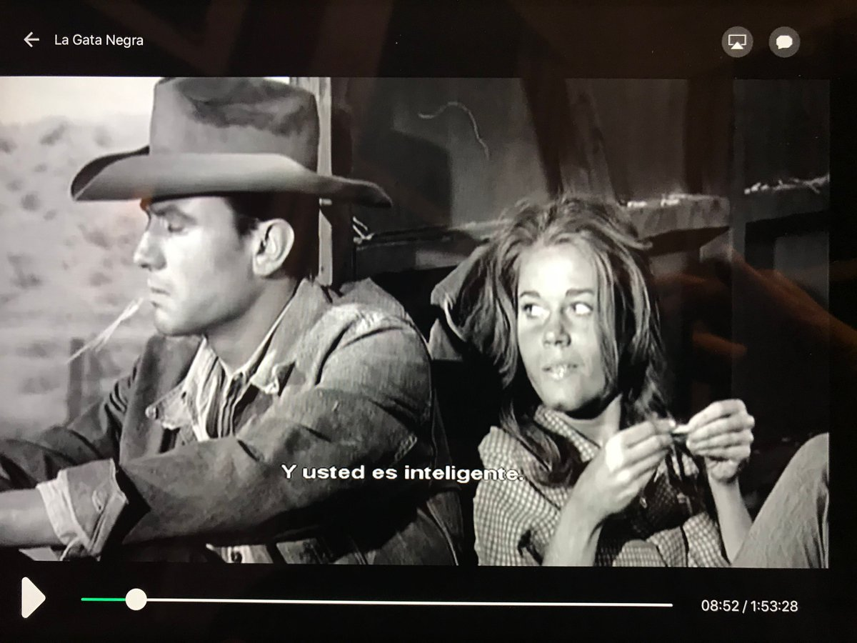 """1962 film 'Walk on the Wild Side' ('La Gata Negra' in Spain) based on Nelson Algren's novel, with a breakout role for a young Jane Fonda as Kitty Twist. The old Spanish version has some odd translations. Kitty's """"You're cute"""" appears in subtitles as """"You are intelligent."""" https://t.co/vRaJuD9A42"""