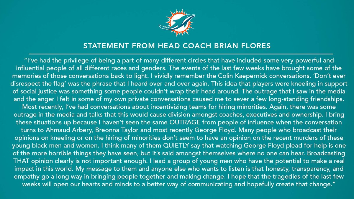 Statement from Head Coach Brian Flores. https://t.co/dJOdHHSvNT
