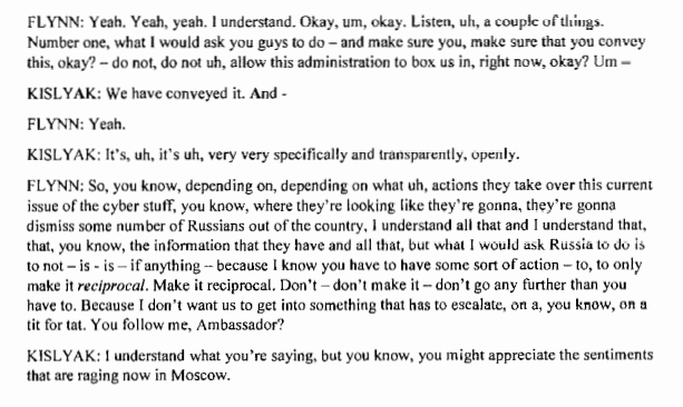 """The Flynn-Kislyak call transcript (via @dnvolz)👇  It's no wonder, as @BarbMcQuade wrote: """"The alarm bells sounded beyond the FBI. Others who expressed concern about the content of the calls included"""" James Clapper @AmbassadorRice @SallyQYates.  McQuade:"""
