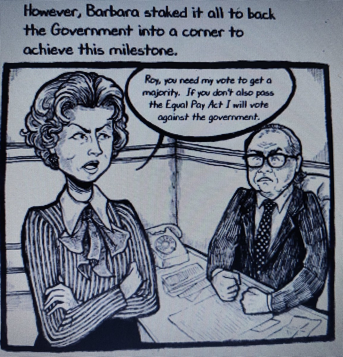 @RachelReevesMP @AnnelieseDodds @MarshadeCordova @Kate_HollernMP @LabourWomensNet @thefabians @FabianWomen @NickTorfaen @HarrietHarman Love this thread Rachel. I did my own wee tribute one. Barbara features in my #GraphicNovel documentary comic, long listed by @MyriadEditions #FirstGraphicNovelCompetition 2020 @HarrietHarman too! Lets hope it's #NotAnother50 years #EqualPay50 art by https://t.co/Up1nV2jspf https://t.co/6AEU8WxrA2