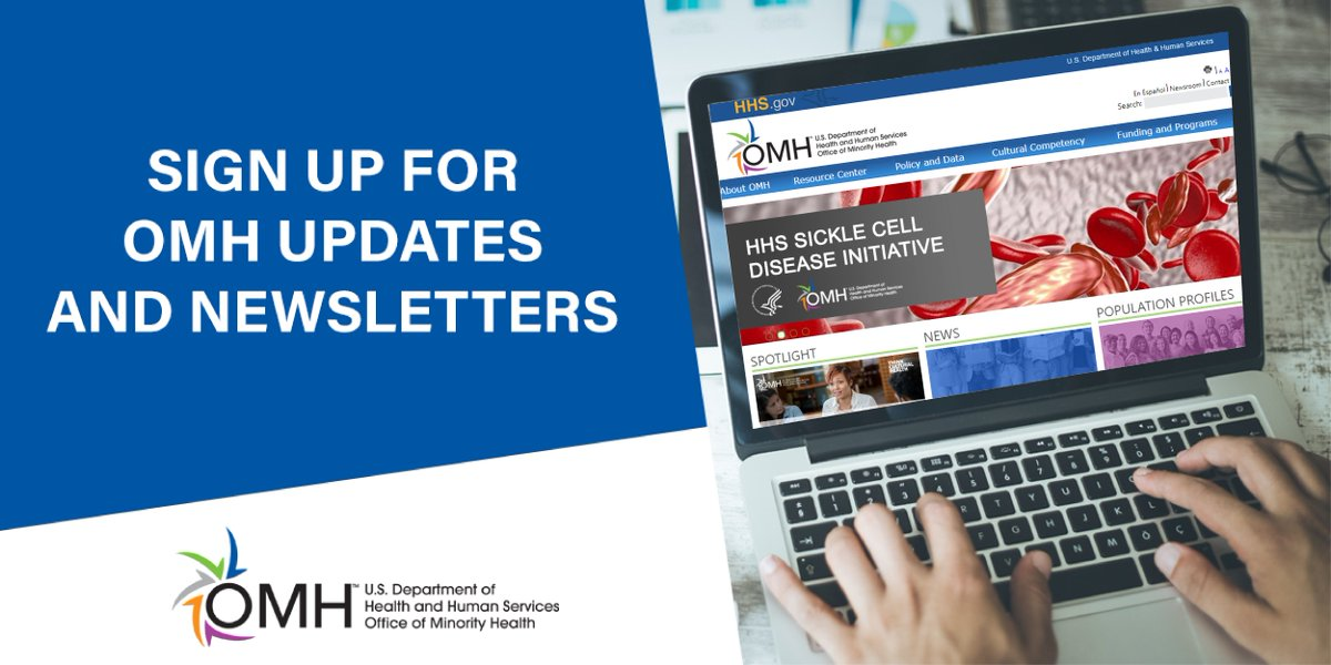 Looking for a way to receive the latest #minorityhealth news? Sign up today to get OMH updates and newsletters so you are always in the know! https://t.co/cAs5E8rB63 https://t.co/DjZzCzrBTF