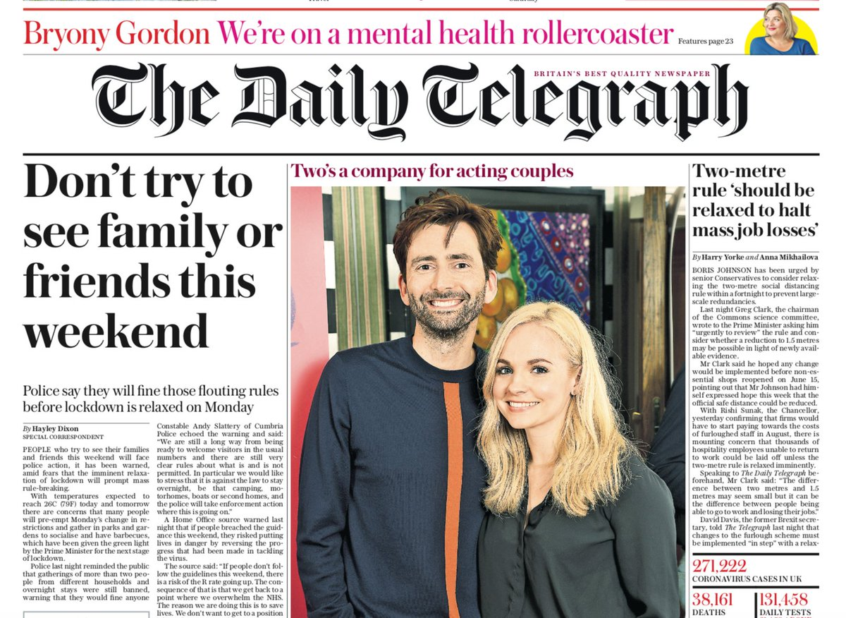 """Tomorrow's Telegraph front page: """"Dont try to see family or friends this weekend"""" #TomorrowsPapersToday"""