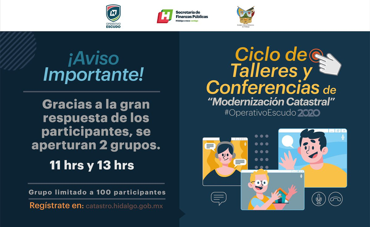 ¡Aviso Importante!   #OperativoEscudo  #ModernizaciónCatastral #Talleres #Conferencias  #COVID19pic.twitter.com/uw60ijEoS0