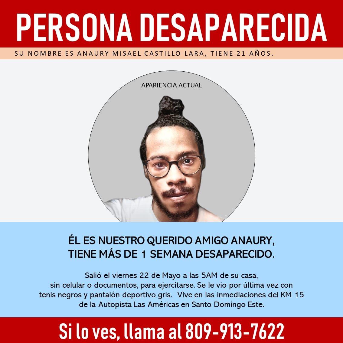 Anaury Castillo aún continúa desaparecido. Ayúdanos a difundir la información! #EncontremosaAnaury https://t.co/vQJ7RfvWKc