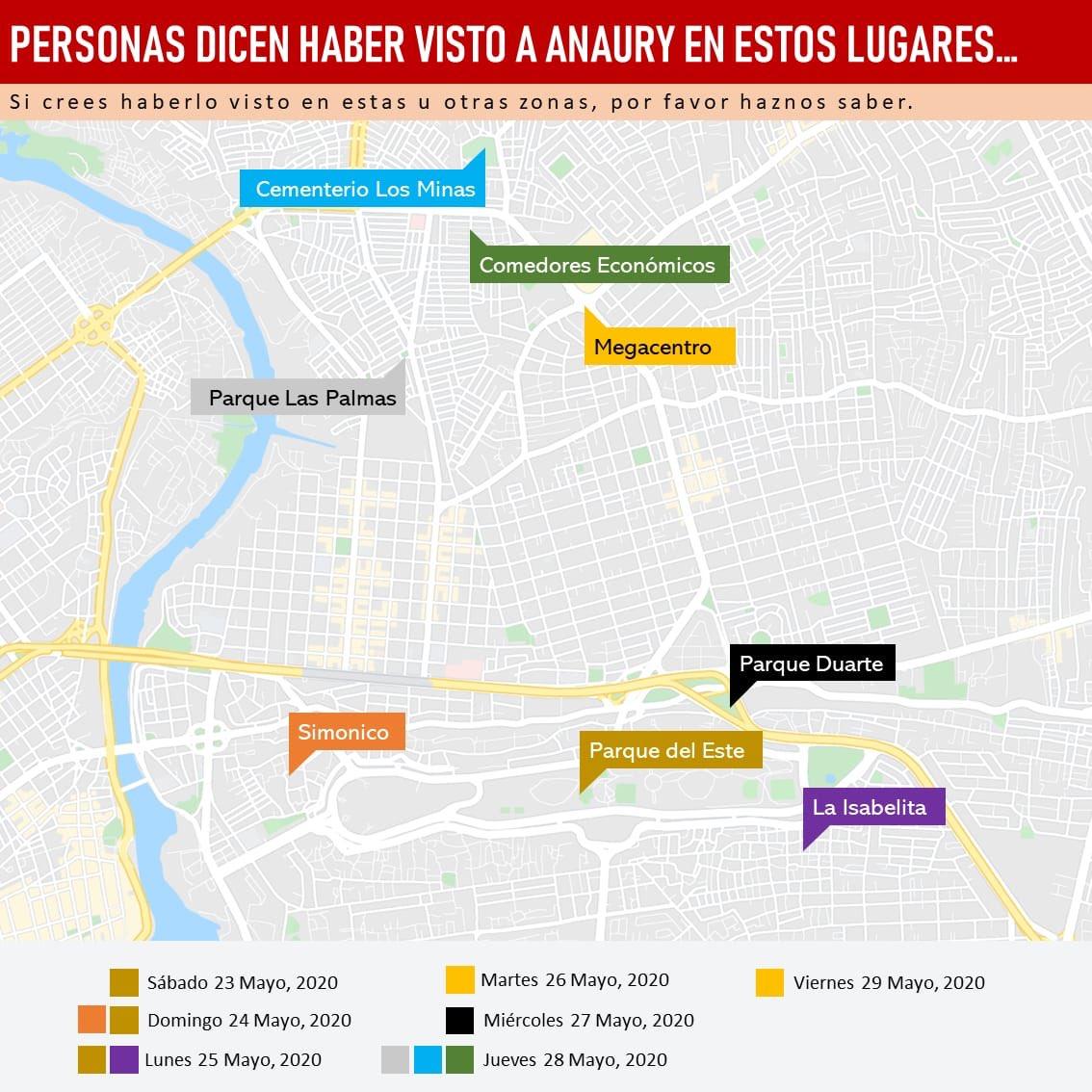 Estas son las zonas donde las personas lo han visto. Ayúdennos a difundir #EncontremosaAnaury https://t.co/jXCsa0IEIA