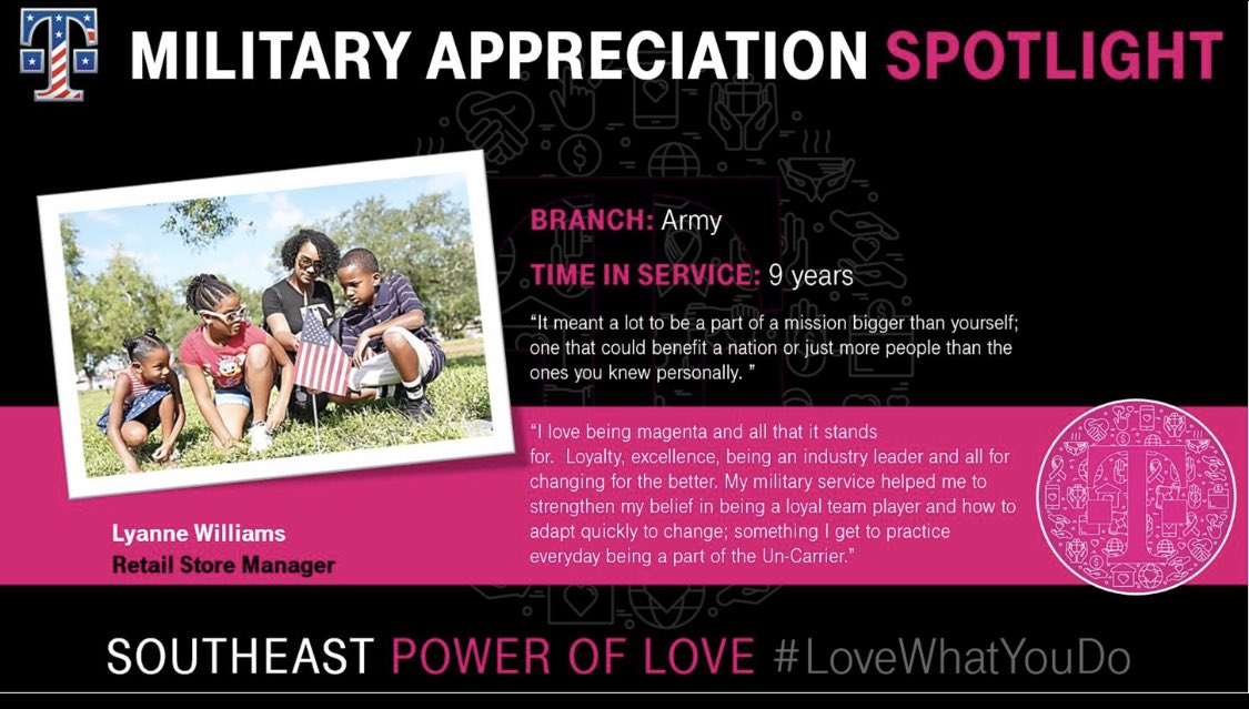 Spotlight on @LyBlee this #MilitaryAppreciationMonth. Loyalty and being part of something greater than herself is what she takes pride in - her service in the Army and her role @Tmobile allows her to experience and practice just that. #WeSaluteYou and thank you for your service!