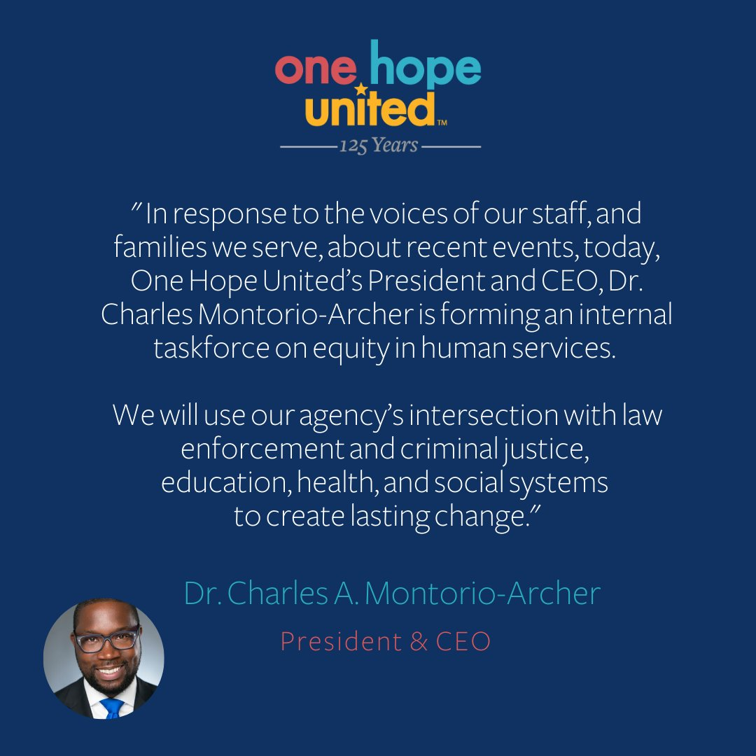 test Twitter Media - Today, our President and CEO @MontorioArcher has announced that he will launch and lead One Hope United's Taskforce on Equity in Human Services.   #EqualityForAll #JusticeForAll #BlackLivesMatter #NonProfit #SocialServices #YouthEmpowerment #CommunityOutreach https://t.co/K9AF6vM4st