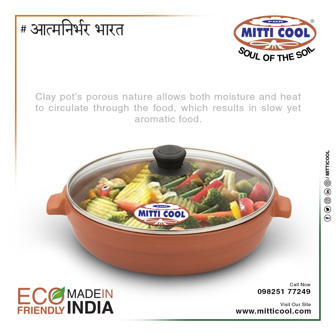 Healthy and tasty!!! Cook your self a good meal with Mitticool cookware. Go vocal for local.  #mitticool #Cookware #Tableware #ecofriendly #clay #clayware #decorative #mataka #fridge #pots #healthy #lockdown4 #AatmanirbharBharat #indianmade #VocalForLocal #Swadeshi