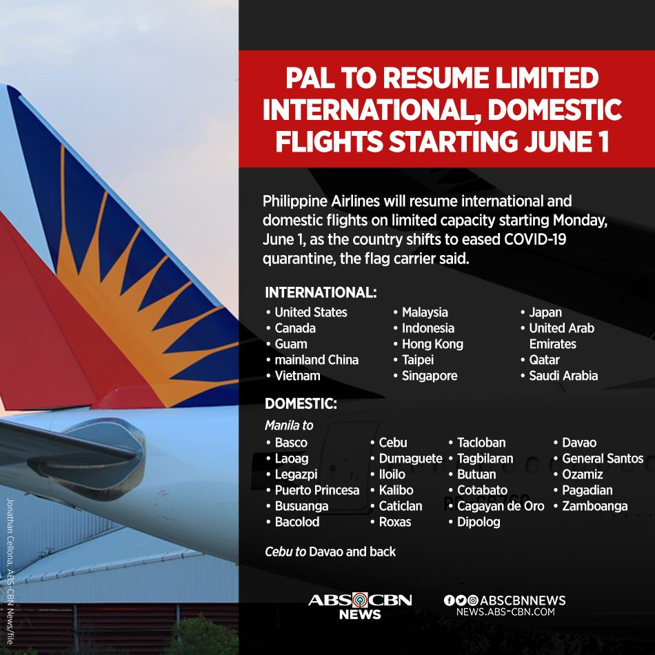 Abs Cbn News On Twitter Philippine Airlines Will Resume International And Domestic Flights On Limited Capacity Starting Monday June 1 As The Country Shifts To Eased Covid19 Quarantine Read Https T Co 9pzrkybvxc Https T Co D3lmqkm9a0