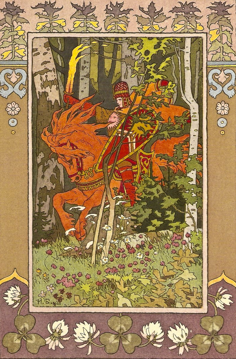 "Red Rider. Illustration for the fairy tale ""Vasilisa the Beautiful"", 1899 #artnouveau #bilibinpic.twitter.com/mkP8gzqdKb"