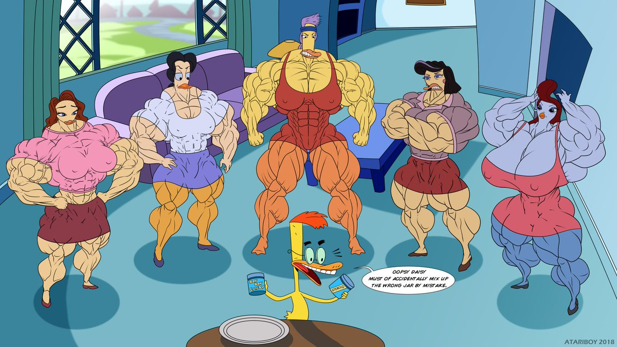 Duckman's Last Mistake.  Or maybe it's a mistake in his favor... I don't know you tell me.  From left to right Angela, Dr. Fox, Bernice, Mayor Gallagher and Honey Chicken.  #angela #bernice #biceps #bodybuilder #duckman #fbb #muscles #drfox #honeychicken #mayorgallagher #fmg pic.twitter.com/rgmM5PHbKY
