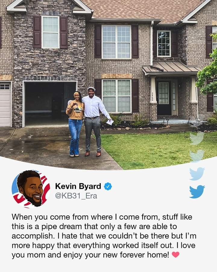 When Kevin Byard was drafted in 2016, his mom was facing eviction. 👍👍👍👍👍👍👍👍👍👍👍👍👍👍👍👍👍👍👍👍👍👍👍👍👍👍👍👍👍👍👍👍  Fast forward three years, he had bought her a home ❤ (via Jenna Laine) 👍👍👍👍👍👍👍👍👍👍👍👍👍👍👍👍👍👍👍👍👍👍👍👍👍👍👍👍👍👍👍👍👍👍👍👍👍 https://t.co/EBPsXRXOV1