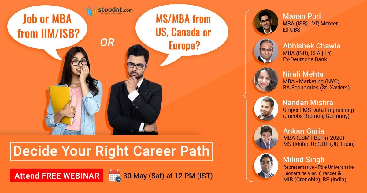 MS Data Science vs MS Business Analytics vs MIS vs MiM?  US vs Canada vs Europe - what's best for you?  MBA in India or MBA Abroad - how to calculate the ROI?  Join the Free Webinar and Panel Discussion today by registering at https://event.webinarjam.com/register/7/w6494av …pic.twitter.com/A6FLMfpobw