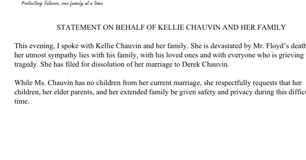 Kellie Chauvin, Through her attorney wife of former Officer Derek Chauvin the former Minneapolis Police Officer charged with murdering #GeorgeFloyd released a statement saying she is devastated by Floyd's death, sends condolences to his family and is divorcing her husband @wcco https://t.co/A5n7bYgdbK