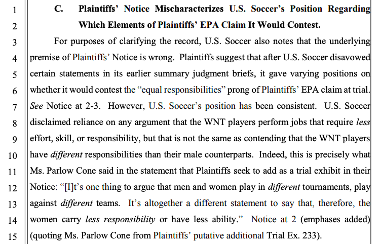 """USSF points out that """"different"""" doesn't mean """"less"""" when it comes to #USWNT effort, skills, responsibility. pic.twitter.com/lXp8fy0eC7"""