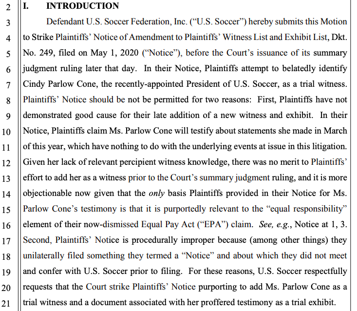 U.S. Soccer just filed a motion to strike Cindy Parlow Cone from the witness list from #USWNT players. (Yes, it's a Friday. Yes, I have been drinking.) pic.twitter.com/LJofRpGIXJ