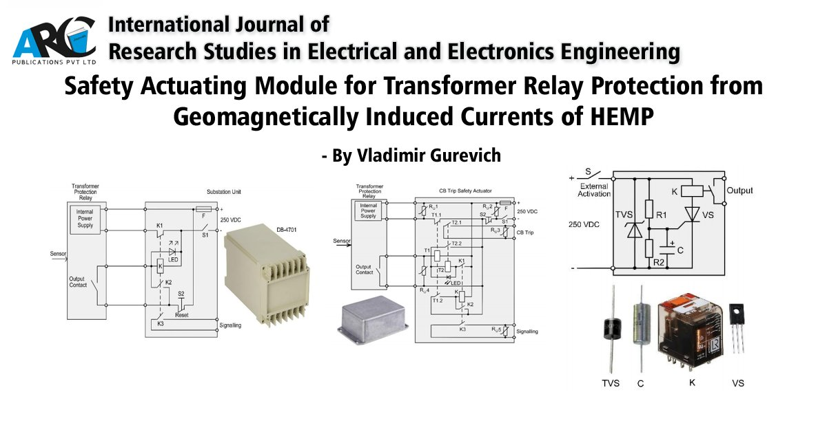 Safety Actuating Module for Transformer Relay Protection from Geomagnetically Induced Currents of HEMP DOI:  International Journal of Research Studies in Electrical and Electronics Engineering #Electrical #Electronics #ElectronicsEngineering #Transformer