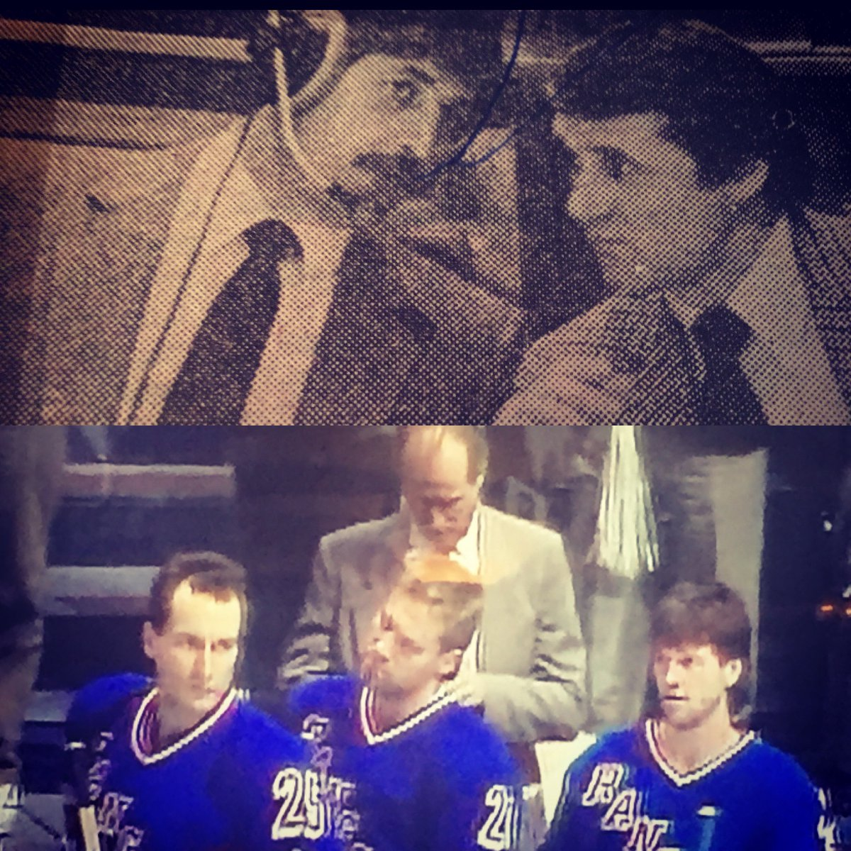#54 Ok back to the Assistant Coaches again. Name the guy with his head down and guy with headphones on with Brooks? #nyrangersfan #nyr #oldschool #assistants #hockey #nhl #rangers https://t.co/u3PeAI2p62
