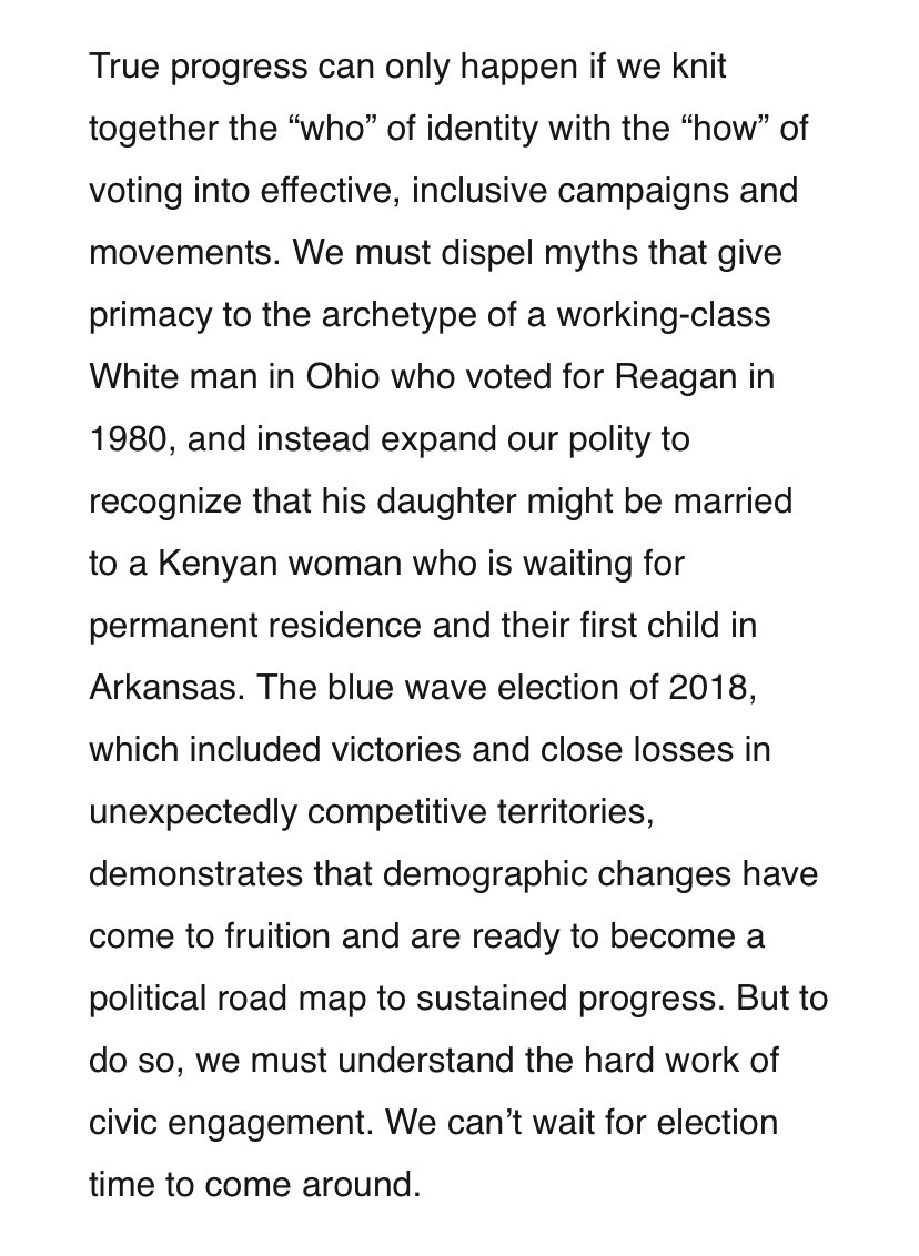 """We must dispel myths that give primacy to the archetype of a working-class White man in Ohio who voted for Reagan in 1980, and instead expand our polity.""   -An excerpt of @staceyabrams' upcoming book on building a winning coalition."