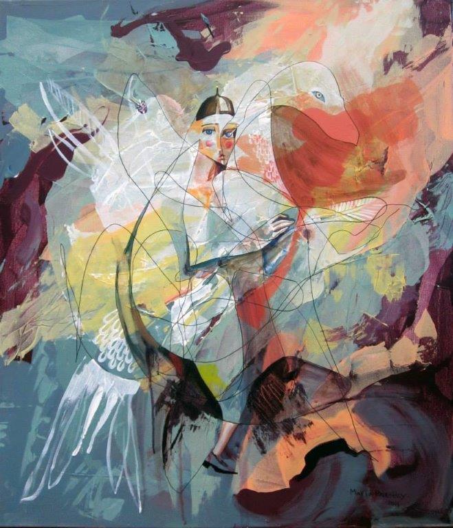 """swan rider"", 2014, acrylic on canvas  http://mariapriestley.com #abstractart #modernartpic.twitter.com/wIYG4B0rZJ"
