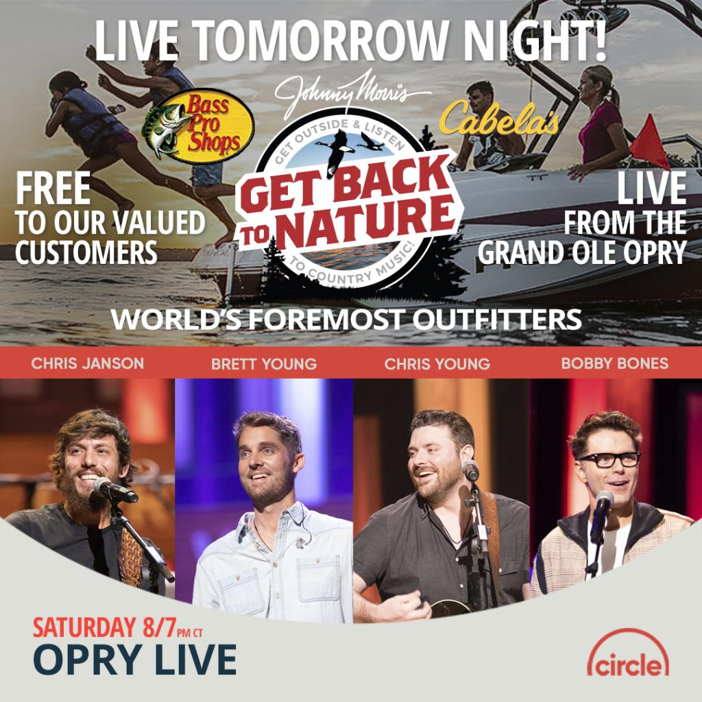 Tomorrow night! Were streaming live from the @opry with @janson_chris, @BrettYoungMusic, and @ChrisYoungMusic! bassp.ro/3ceP5f3