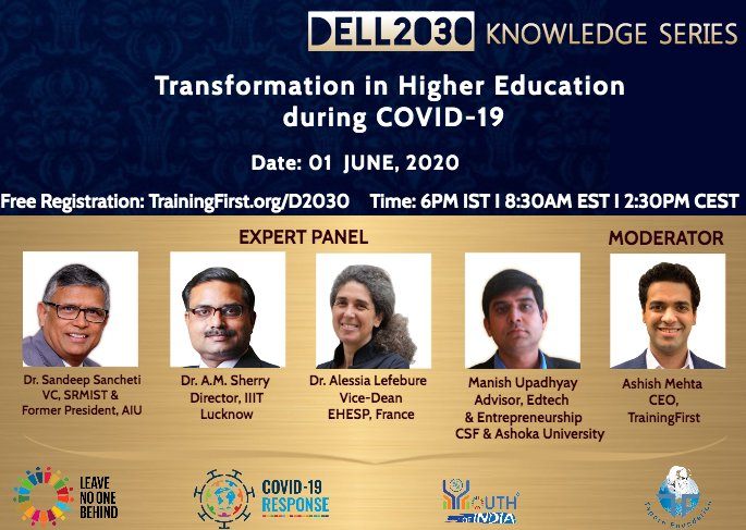 Amidst all the uncertainties, this webinar is targeted at educators, students and their parents to discuss and adapt to the changing trends in higher education. Register Now: bit.ly/2M9iNaw @SDG2030 @Activate1M1B @SinghalSailesh @etr_in @edlab @TeachSDGs @radhika_iyengar