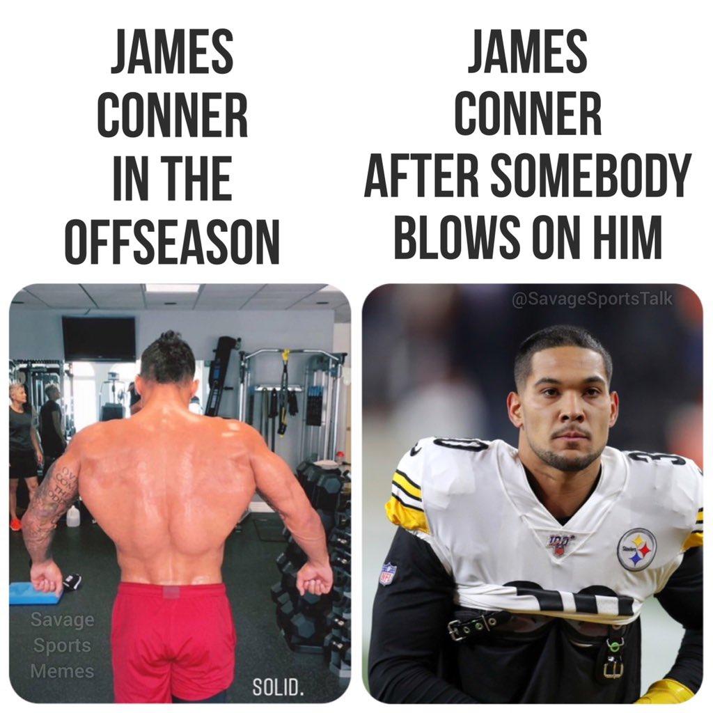 Chance of shoulder injury this season: % . .  #NFL #NFLmeme #NFLmemes #football #footballmeme #footballmemes #meme #memes #sports #sportsmeme #sportsmemes #steelers #pittsburgh #pittsburghsteelers #jamesconner #juju #flexpic.twitter.com/BPXLaJMhqF