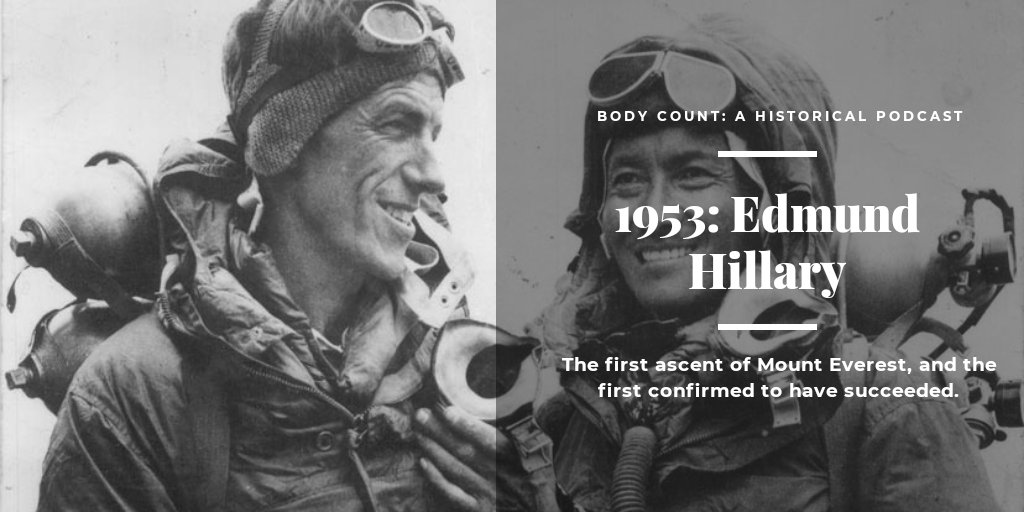 #OTD Sir Edmund Hillary was not only the first to go up...but also down the historic Mt. Everest which makes him one of our reverse Body Count specials.  #History #mteverest #HistoryRepeatsItself #hashtaghistory  #historyfacts #historymatters #podcasts #podcasting #historylessonpic.twitter.com/2KzJFUNUpO