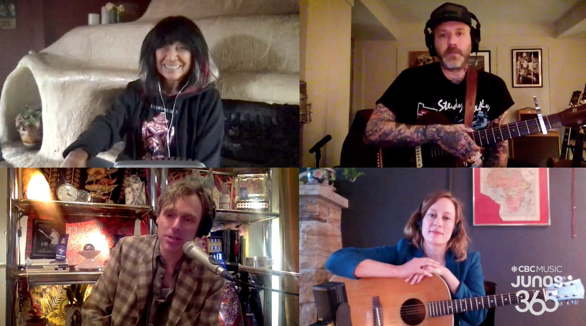 LIVE NOW: the 3rd of 5 virtual #JUNOS 365 Songwriters' Circles Presented by @CBCMusic, @SOCANmusic in association with @canmuspub is now streaming. Supported by @TD_Canada Featuring host @joelplaskett, @buffystemarie, @cityandcolour & @sarah_harmer 🔗 gem.cbc.ca/live/174292025…