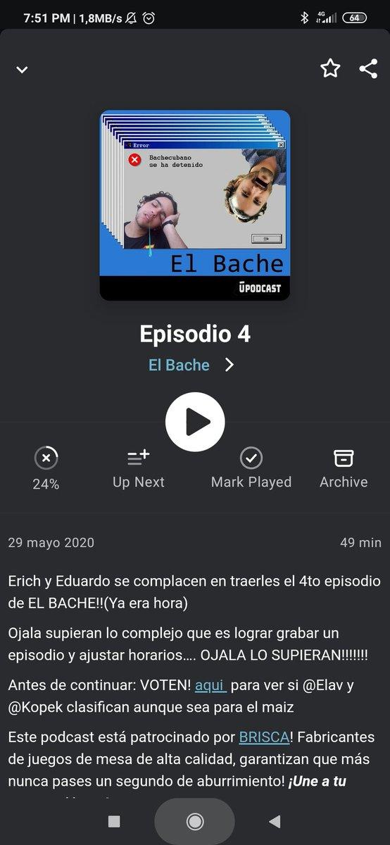 Descargando #ElBache4 .... A ver a meten estos locos hoy @ErichGarciaCruz @__KOPEK__ voy a dejar de ver #LaQueSeAvecina para oírlos!!!!