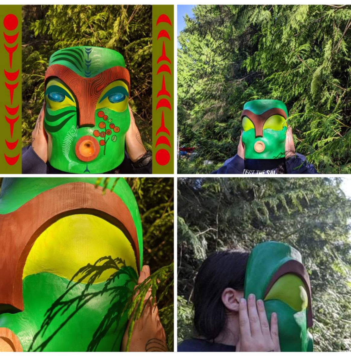 "Oceann Hyland / Shḵwen̓ Xápay̓ay red cedar tree.  ""This mask, along with the digital imagery is my piece... The collective of artists were asked to create pieces relating to our connections to cedar..."" https://m.facebook.com/story.php?story_fbid=2298738757088454&id=1432758217019850 …pic.twitter.com/38cxhtS8Cf"